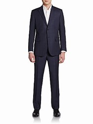 Saks Fifth Avenue Black Slim Fit Windowpane Wool Two Button Suit Navy