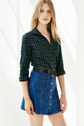 Bdg Katie Flannel Button Down Shirt Green