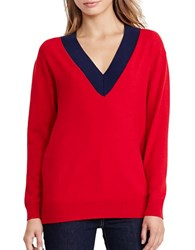 Lauren Ralph Lauren Relaxed V Neck Sweater Red