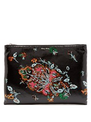 Miu Miu Sequin Embroidered Leather Pouch Black