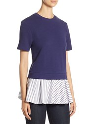 Carven Babydoll Layered Cotton Top Blue