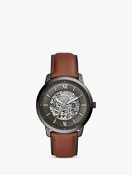 Fossil Me3161 'S Neutra Skeleton Automatic Leather Strap Watch Brown Grey