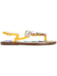 Dolce And Gabbana Embellished Flat Sandals Yellow And Orange