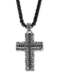Triton Men's Sterling Silver Necklace Black Sapphire 3 8 Ct. T.W. Cross Pendant