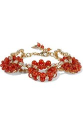 Rosantica Woman Courmayeur Gold Tone Bead And Crystal Bracelet Tomato Red