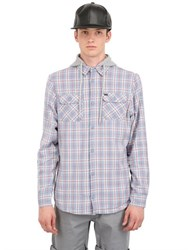 Globe Hooded Plaid Cotton Shirt