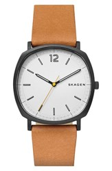 Skagen Men's Rungsted Leather Strap Watch 40Mm Brown White Black