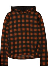 Maje Hooded Checked Jersey Sweatshirt Red