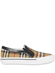 Burberry Vintage Check And Leather Slip On Sneakers Neutrals