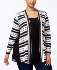 Ny Collection Plus Size Layered Look Cardigan Black