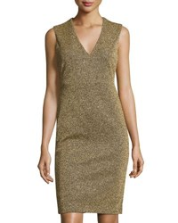 Catherine Malandrino Sleeveless Metallic V Neck Sheath Dress Gold
