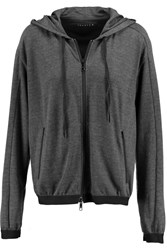 Theory Runi Cotton Blend Jersey Hooded Sweatshirt Gray