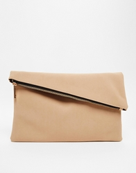 Asos Square Clutch Bag With Slanted Zip Top Nude