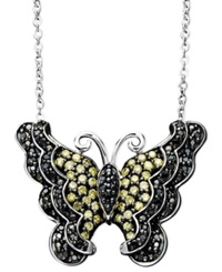 Macy's Sterling Silver Necklace Yellow And Black Diamond Butterfly Pendant 1 2 Ct. T.W.