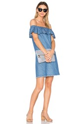 Central Park West Santa Cruz Off Shoulder Dress Denim