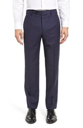 Zanella Men's Devon Flat Front Dot Wool Trousers Blue