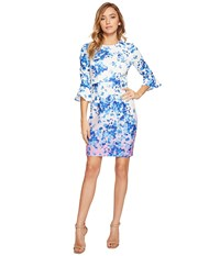 Donna Morgan 3 4 Sleeve Bell Sleeve Sheath Dress Whitecap Grey Hydrangea Navy Multi Women's Dress Blue
