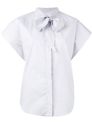 Maison Martin Margiela Mm6 Micro Stripe Cap Sleeve Bow Shirt Grey