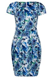 Wolf And Whistle Blue White Floral Satin Tailored Dress Blue