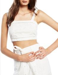 Bardot Meadow Fitted Cropped Top White