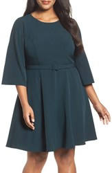 Eliza J Plus Size Women's Belted Crepe Fit And Flare Dress