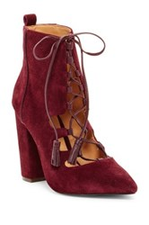Joe's Jeans Hanna Lace Up Bootie Red