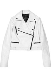 Proenza Schouler Cracked Leather Biker Jacket White