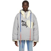 Off White Reversible Grey And Red Puffer Jacket