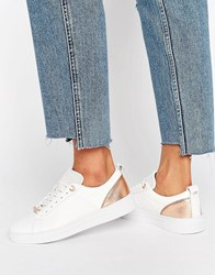 Ted Baker Kulei White Leather Trainers White Rose Gold Leat