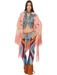 Roberto Cavalli Embroidered Fringed Crepe De Chine Shawl