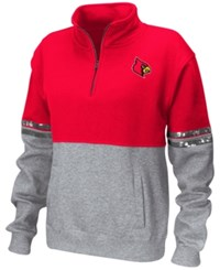 Colosseum Women's Louisville Cardinals Rudy Quarter Zip Sweatshirt Red Heather