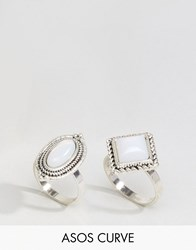 Asos Curve Pack Of 2 Irridescent Stone Rings Silver