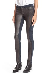 Superfine 'Tex' Leather Trim Skinny Jeans 27