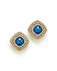 Bloomingdale's London Blue Topaz And Diamond Beaded Earrings In 14K Yellow Gold Blue Gold