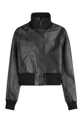 Anthony Vaccarello Leather Bomber Jacket Black