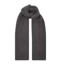 Corneliani Ribbed Cashmere Scarf Unisex Dark Grey