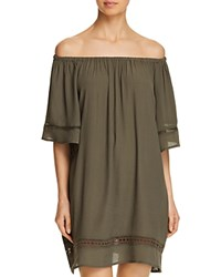 Muche Et Muchette City Wide Short Sleeve Dress Swim Cover Up Army Green