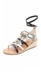 Ancient Greek Sandals For Peter Pilotto Wedge Gladiator Sandals Black White