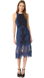 Jonathan Simkhai Lace Trim Halter Dress Navy