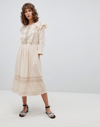 Suncoo Midi Folk Dress With Ruffle Front Pink