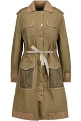 Belstaff Convertible Leather Trimmed Cotton Trench Coat Army Green