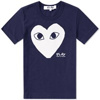 Comme Des Garcons Play Printed Heart Logo Tee Blue