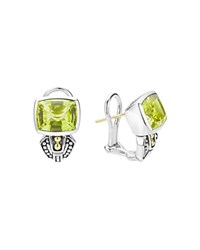 Lagos Sterling Silver And 18K Gold Glacier Huggie Drop Earrings With Green Quartz Green Silver