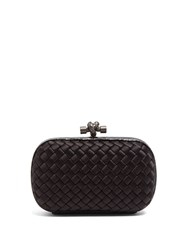 Bottega Veneta Knot Satin And Water Snake Clutch Black