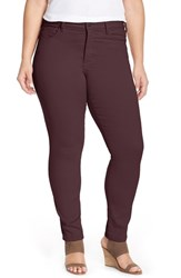 Nydj Plus Size Women's 'Alina' Colored Stretch Skinny Jeans Brandy Wine