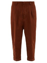 Ami Alexandre Mattiussi Dropped Seat Cotton Twill Chinos Brown