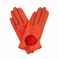 Gizelle Renee Bega Orange Leather Driving Gloves With Coffee Cashmere Yellow Orange