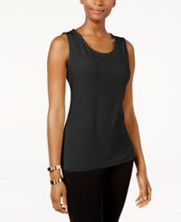 Jm Collection Petite Jacquard Tank Only At Macy's Deep Black