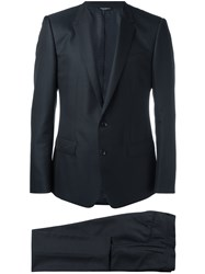 Dolce And Gabbana Patterned Suit Virgin Wool Silk Viscose Acetate Blue