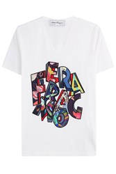 Salvatore Ferragamo Printed Cotton T Shirt White